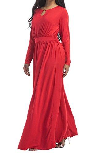 Vestito Di Delle Inverno Lunga Manica Donne Autunno Comodi Rosso Vita Bohemien Sexy qXXUOAv
