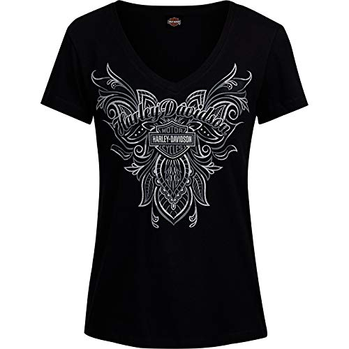Price comparison product image Harley-Davidson Military - Women's Graphic V-Neck T-Shirt - Camp Leatherneck / Embraced MD