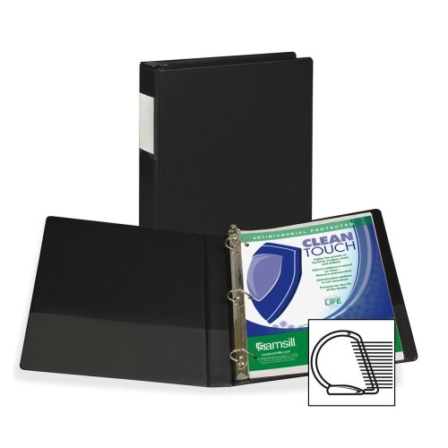 Wholesale CASE of 20 - Samsill Clean Touch Antimicrobial D-Ring Binders -Antimicrobial D-Ring Binder, 1'' Cap, Anti Micro, Black
