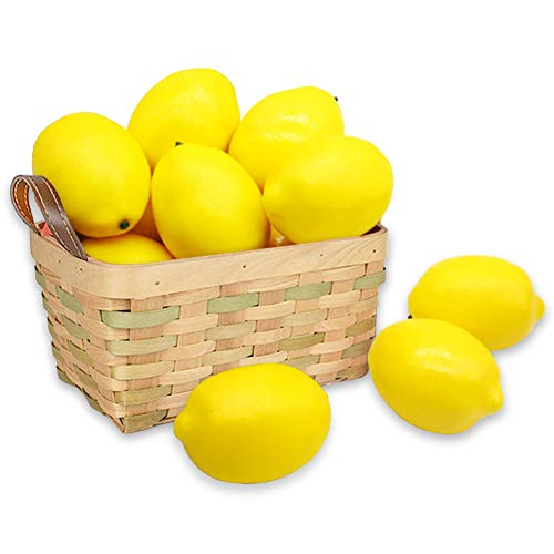 (BigOtters 12pcs Fake Lemons,Faux Lemon Plastic Artificial Yellow Lemon for Fake Fruit Bowl,Home Kitchen Table Cabinet Party Decor Photography Prop)