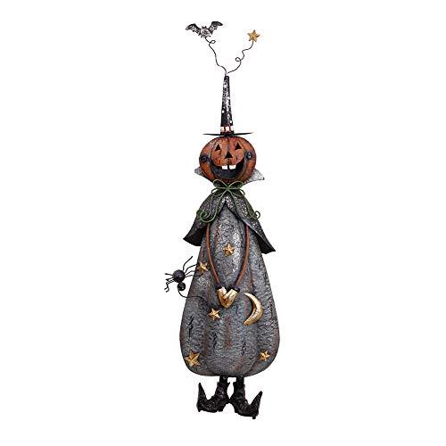 Indoor Outdoor Metal Halloween Pumpkin Figurine, Kids Friendly Haunted House Decor Halloween Lawn Yard Garden Decorations for Home Party Favors Halloween Party Supplies (Halloween Pumpkin Figurine-C)