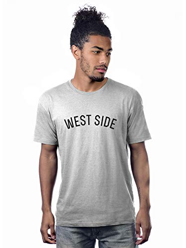 Daxton Premium Basic Crew Neck Short Sleeve Tshirt Cities West Side Letter - HthGrey Black-Medium