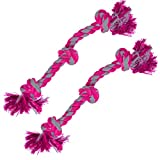 """2 Twisted Triple Knotted Rope Bone for Dogs (20"""") by SunGrow - Heavy Duty Cotton - Brightly Colored Chew Play Toys, Suitable for Even Medium & Large Breed Dogs : Cleans Pup's Teeth as They Play"""