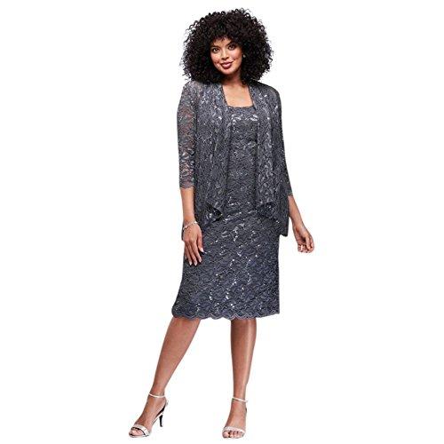 86343dc0e31a Alex Evenings Women's Plus Size Tea Length Lace Dress and Jacket, Blue  Smoke, 24W