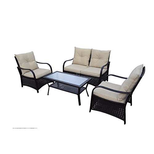 Catalina Outdoor Sofa (DG Casa Catalina Steel Rattan Loveseat, 2 Chair and Table Set)