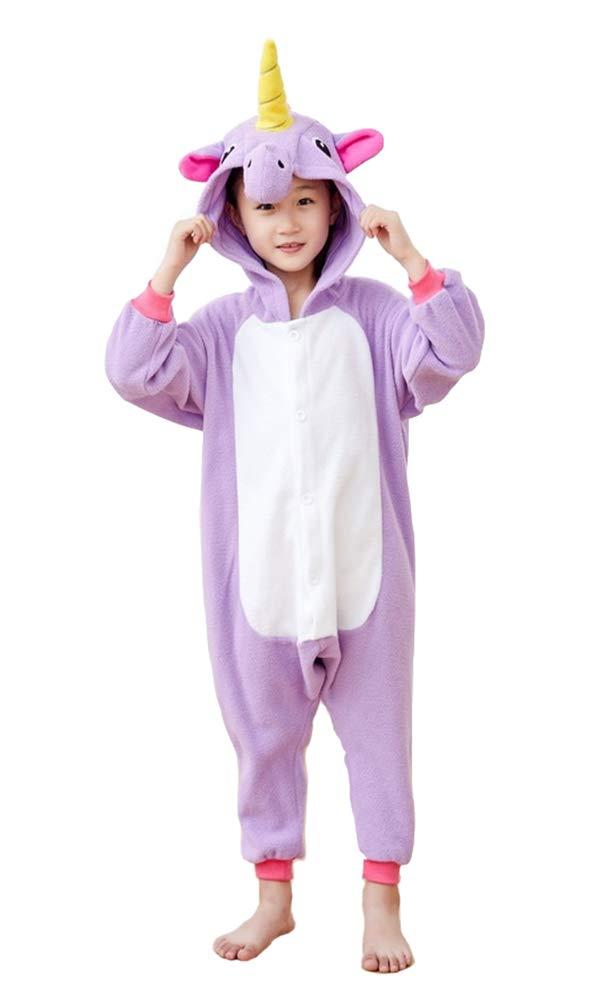 Kids Unisex Animal Pajamas One Piece Anime Onesie Unicorn Costumes Homewear Purple 2-4 by Mybei (Image #2)