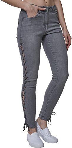 Lace grey Ladies Classic Urban Grau Jeans Denim Up Donna Pants 00111 Skinny wqtxxd5