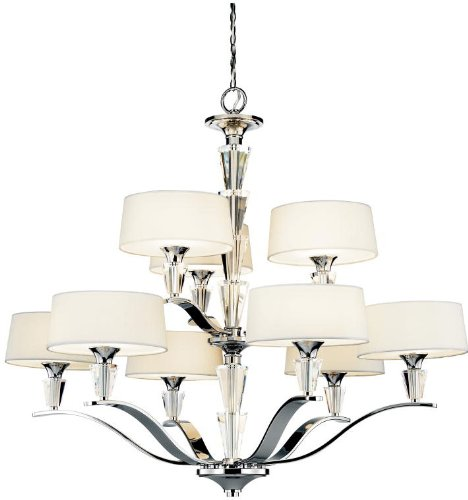 Lamps Plus Satin Chandelier (42031CH Crystal Persuasion 9LT 2-Tier Chandelier, Chrome Finish with White Fabric Shades and Satin Etched Glass)