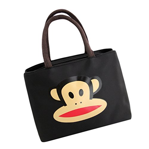 Cartoon amp;singe Capacité Mode Yuanu Main Impression Carré Femme Noir Transversale Casual Grande Sacs Sac À Simple ZwEEH