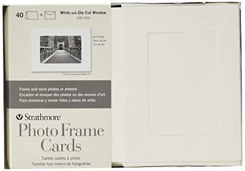 Strathmore (105-250 Photo Frame Cards Cutout Window, White, 40 Envelopes