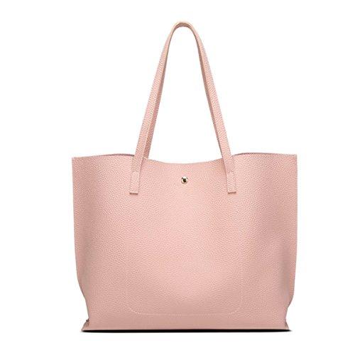 Bolso de mano grande de las mujeres - bolsos del hombro del cuero de imitación de las borlas, bolsos de las señoras de la moda bolsas de mensajero de la taleguilla Rosado