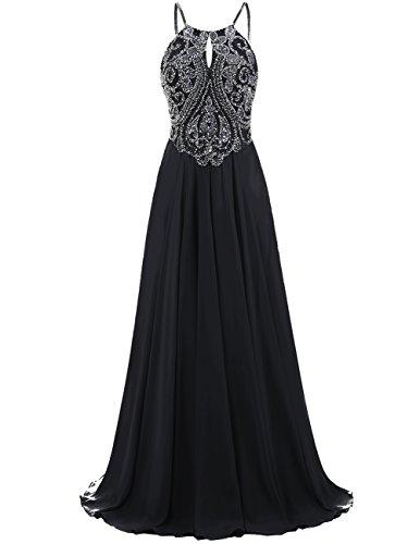 DRESSTELLS Long Prom Dress Halter Chiffon Dress Beaded Evening Party Gown Black Size 8