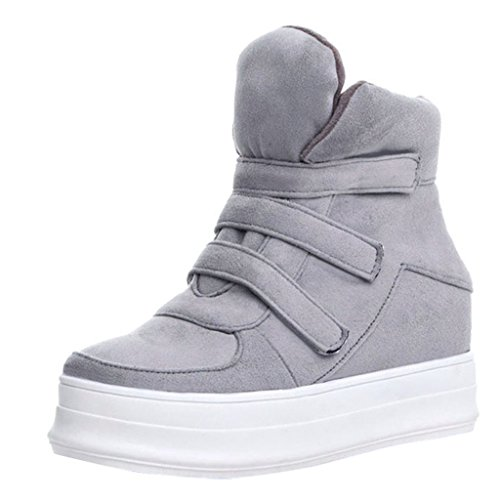 Lady's Velcro Bandage Ankle Boots Gray