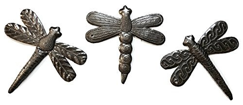 Set of 3 Small Garden Dragonflies 6 Inches, Quality Recycled Metal from Haiti, Backyard ()