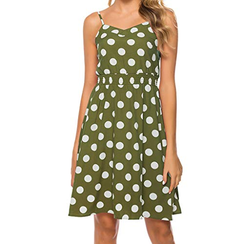 Shusuen Women's Dresses Retro Polka Dot Summer Floral Bohemian Spaghetti  Strap Swing Midi Dress Green