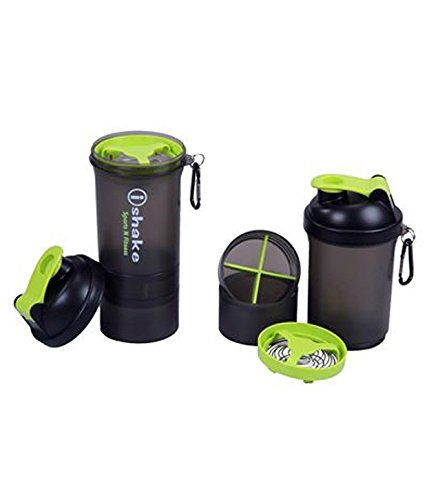 IShake 019 Blender Plastic Shaker Bottle (Green Lid, Soot Body)