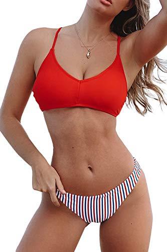 CUPSHE Women's Red White and Blue Strappy Cross Tie Bikini, Multicolor, Medium ()