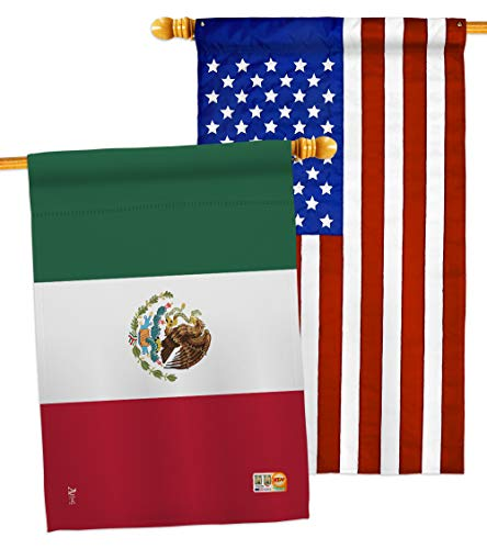 "Americana Home & Garden HP140154-P3AB Mexico Flags of The World Nationality Impressions Decorative Vertical 28"" x 40"" USA - Applique House Pack"