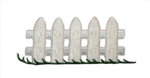 Fence Applique (ID #3101 White Picket Fence Embroidered Iron On Applique Patch)
