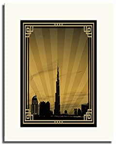 Dubai Skyline Down Town - Sepia With Gold Border No Text F05-m (a2) - Framed