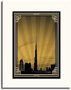Dubai Skyline Down Town - Sepia With Gold Border No Text F05-m (a2) - Framed