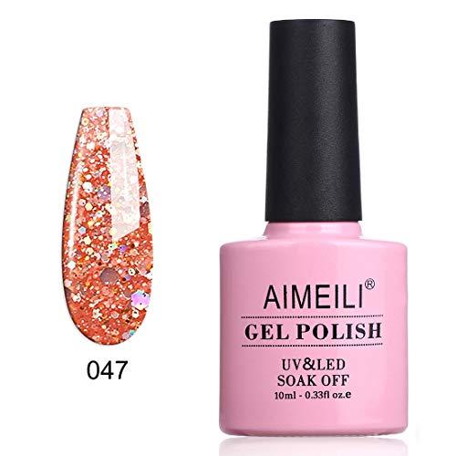 AIMEILI Soak Off UV LED Gel Nail Polish - Diamond Glitter Pinch of Peach (047) 10ml