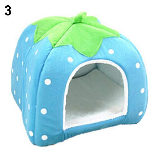 owhelmlqff Strawberry Pet Dog Cat Puppy Warm Bed Mat Soft House Cushion Pad Kennel Basket Pet House Blue XL
