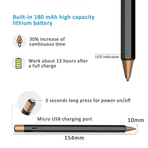 Abida Stylus for iPad, Touchscreen Pen with Fiber Fine Tip, Rechargeable, No Need App or Bluetooth for iOS Devices, Especially for Apple Devices Such as iPad, iPhone, iPad Pro - Brown by Abida (Image #5)