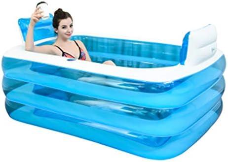 折りたたみインフレータブルバスタブ子供の屋外プール厚い大人浴槽折りたたみ子供の浴槽ブループラスチック風呂浴槽ギフト (Color : BLUE, Size : 145*105*55CM)