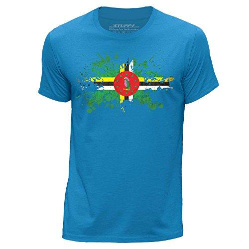 (Stuff4® Men's Large (L) Blue Round Neck T-Shirt/Dominica/Dominican Flag Splat)