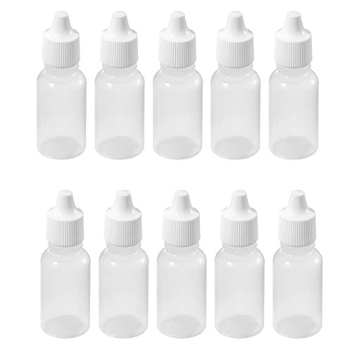 TOOGOO(R) 10 Pcs 10 ML 1/3 OZ LDPE Plastic Childproof Dropper Bottles Oil Lotion