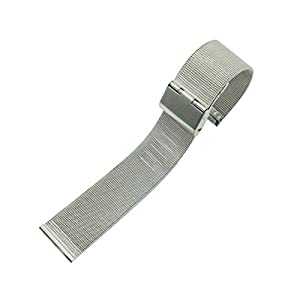 WINOMO Universal 16MM Stainless Steel Watch Mesh Replacement Quick Release Watchband Strap (Silver) by WINOMO