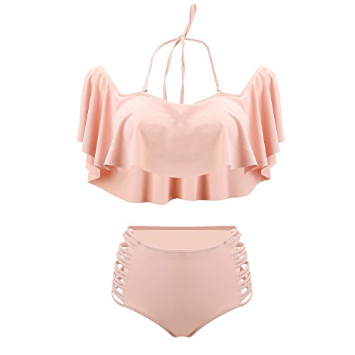 UTOVME Women Off Shoulder Padded Falbala High Waist Bikini Set Swim Bathing Suit