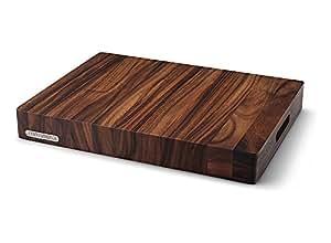 Continenta - Tabla de cocina para cortar - Hecha con madera de acacia, superficie tratada con aceite, madera maciza y emblema de metal.