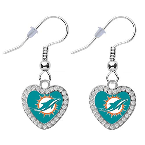 Final Touch Gifts Miami Dolphins Crystal Heart Earrings Pierced