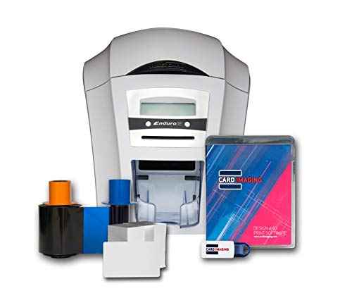 Magicard Enduro 3e Single-sided ID Card Printer & Supplies Bundle with Card Imaging Software ()