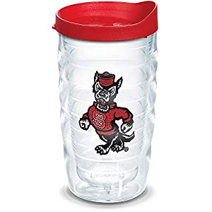 Tervis 1307905 NC State Wolfpack Wolf Insulated Tumbler with Emblem and Red Lid, 10oz Wavy, Clear