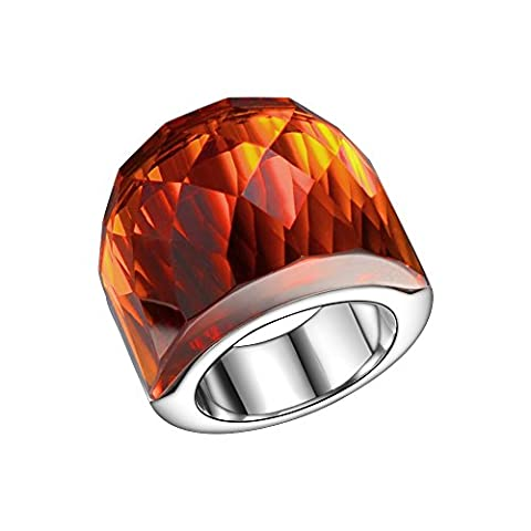 Big Stone Orange Color Statement Ring Never Fade off Stainless Steel Fashion Ring Size 6 - Big Stone Ring