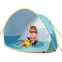 Glymnis Baby Beach Tent Pop Up Sun Shade Shelter with Pool UPF 50+ Protection for Baby or Infant Blue Portable Tent