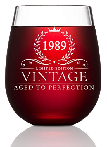 30th Birthday Gifts for Women and Men Turning 30 Years Old- 15 oz. Vintage 1989 Wine Glass - Funny Thirtieth Gift Ideas, Party Decorations and Supplies for Him or Her, Husband, Wife, Mom, Dad