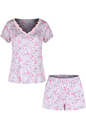 SofiePJ Women's Rayon Spandex Printed V Neck Sleepwear Pajama Set with Short Pants and Lace Trim Light Pink L