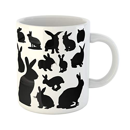 Semtomn Funny Coffee Mug Silhouette Rabbit Bunny Easter Animals Black White Forest Drawing 11 Oz Ceramic Coffee Mugs Tea Cup Best Gift Or Souvenir