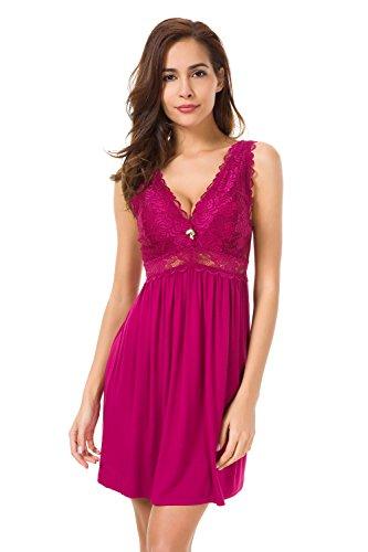 Alcea Rosea Chemise Sleepwear Nightgown Sleeveless Lace Cup Trim Knit Dress for Women (Purple, XL Short)