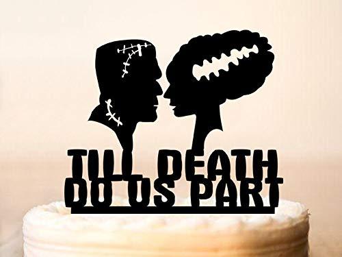 Frankenstein & Bride Silhouette Wedding Cake Topper,Wedding Cake Topper,Till Death Do Us Part,Halloween Wedding Cake -