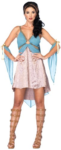 Golden Halloween Goddess Costume (Leg Avenue Costumes 3Pc.Golden Goddess Dress Rope Arm Pieces Headpiece, Blue/Gold,)