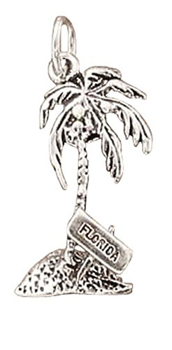 Sterling Silver FLORIDA Word Coconut Palm Tree Dangle Charm Bead For Bead Charm (Palm Tree Dangle Silver Charm)