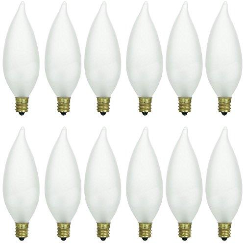 Sunlite 40CFF/32/12PK Candelabra (E12) Base Flame Tip 40W Incandescent Chandelier Frosted Bulb (12 Pack)