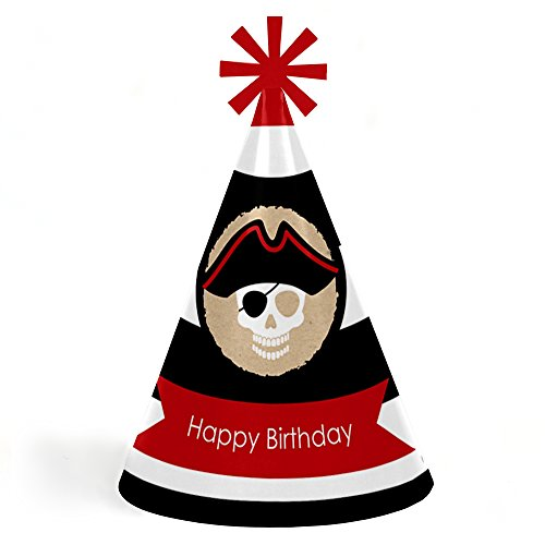 Beware of Pirates - Cone Pirate Happy Birthday Party Hats for Kids and Adults - Set of 8 (Standard Size) ()