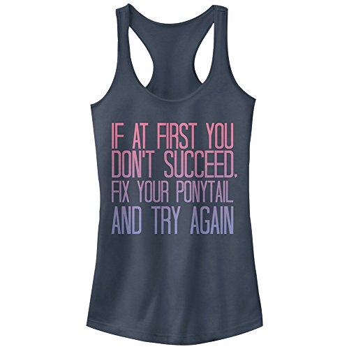 - Chin-Up Women's Fix That Ponytail Ideal Racerback Graphic Tank Top, Indigo, S
