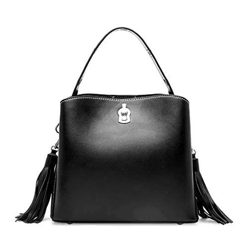 Cuero Tsutou Bolsa Bandolera Black Blue color Viaje Borla De Mujer Vintage Para Con Bolso qqtF6p